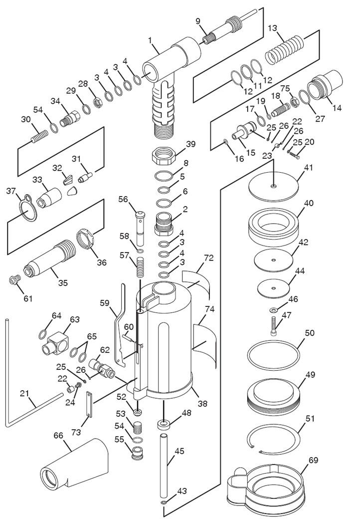 Chicago Pneumatic CP884 Air Riveter Repair PartsCentury Tool & Equipment