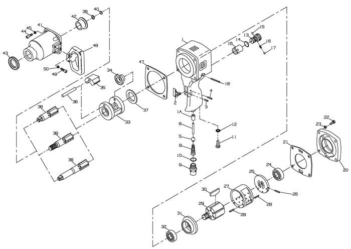 Ingersoll Rand 291 1 Drive Air Impact Wrench Repair Parts