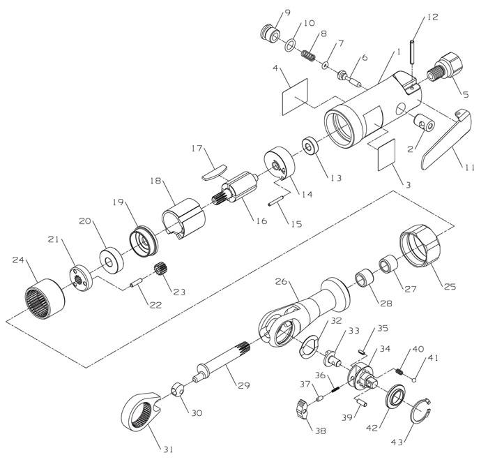 ratchet tool diagram ingersoll-rand 104b 1/4