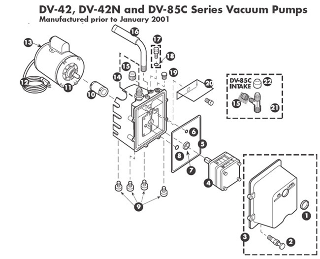 JB Industries Vacuum Pump Repair Parts Models, DV-42, DV42N
