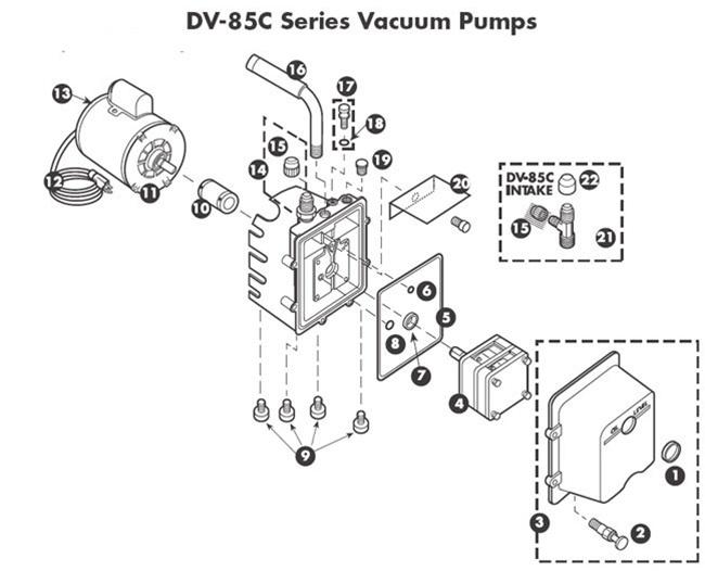 DV-85C Vacuum Pump Repair Parts Manufactured from 1980 to 1988