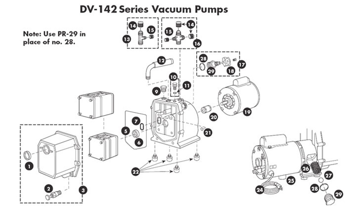 DV-142 Vacuum Pump Repair Parts Manufactured from March