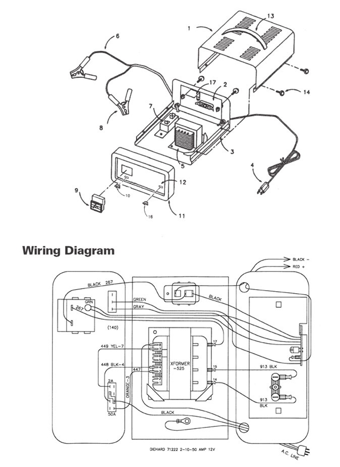 71222 sears 10 2 50 amp automatic battery charger rh centurytool net battery charger wiring diagram ty1339 jd battery charger wire diagram
