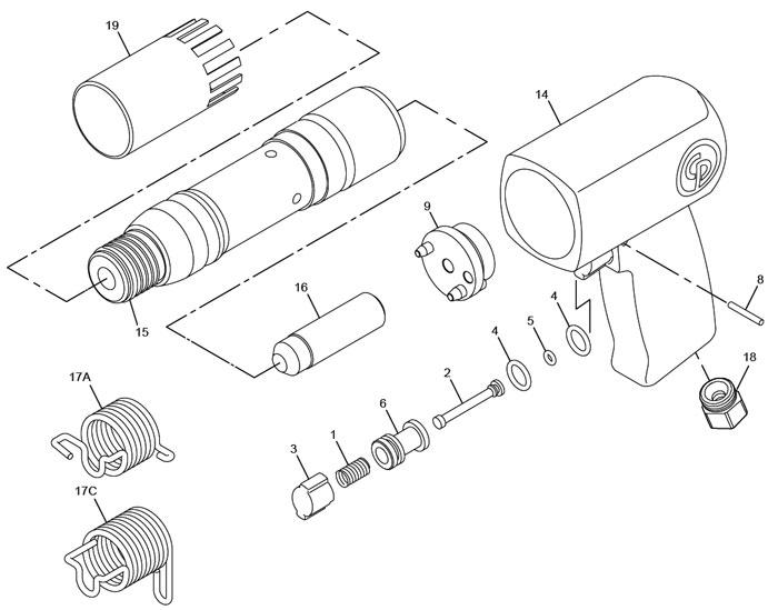 Chicago Pneumatic CP7150 Air Hammer Repair Parts