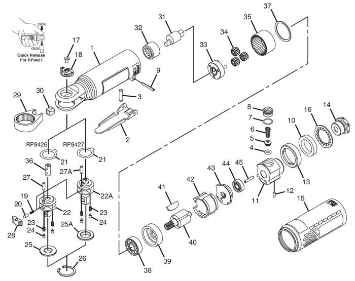 Chicago Pneumatic CP9427 Mini Air Ratchet Repair Parts