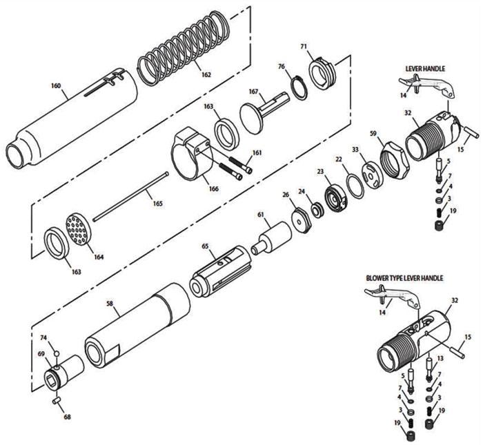 Chicago Pneumatic Cp0456 Lasan Needle Scaler Repair Parts