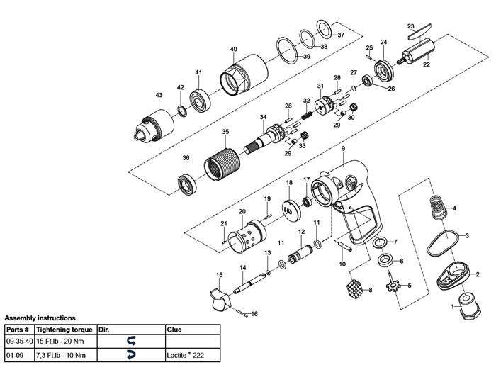 Chicago Pneumatic CP1014P05 Air Drill Repair Parts