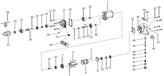 Chicago Pneumatic CP1816 Air Drill Repair Parts