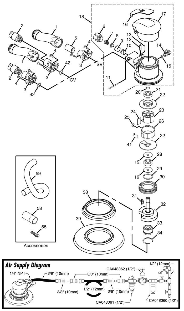 Chicago Pneumatic Cp7220e Sander Repair Parts Wiring Diagram