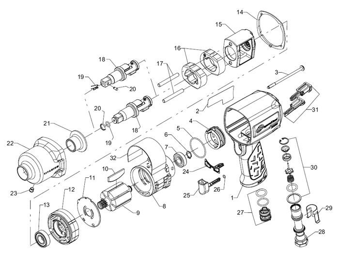 Ingersoll Rand 2235max 12 Drive Air Impact Wrench Repair Parts