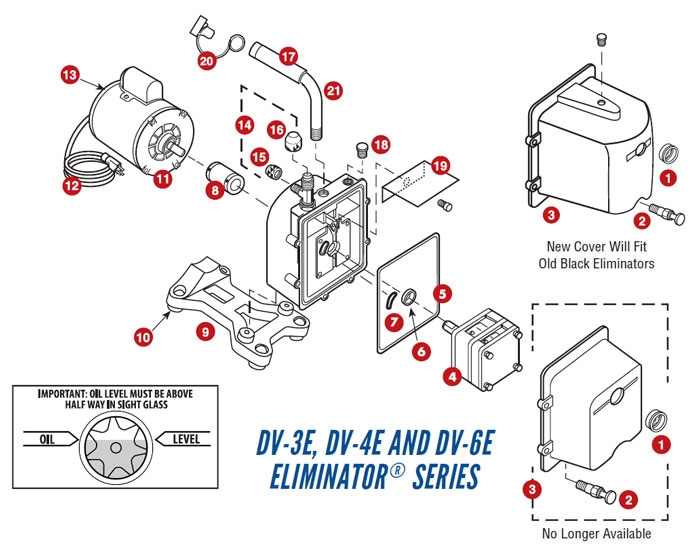 DV-3E DV-4E DV-6E ELIMINATOR Series Vacuum Pump Repair Parts