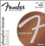 Fender 60XL Phosphor Bronze Extra Light Ball End Acoustic Guitar Strings .010-.048