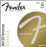 Fender 70L 80/20 Bronze Light Ball End Acoustic Guitar Strings Set