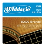 Daddario EJ11 Acoustic Guitar String Set 80/20 Bronze Light .012-.053