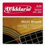 D'Addario EJ12 80/20 Bronze Acoustic Guitar String Set Medium .13-.56