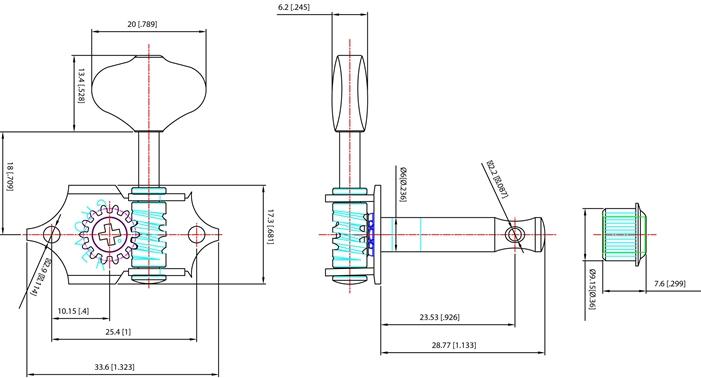 Grover V97-18NA  Vintage Sta-Tite ™ Tuning Machines Nickel Finish