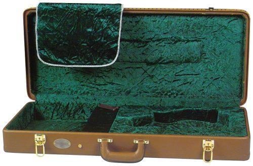 Superior CD-2522 Deluxe Velvet Lined Vintage Rectangular F-Style Mandolin  Case - Brown