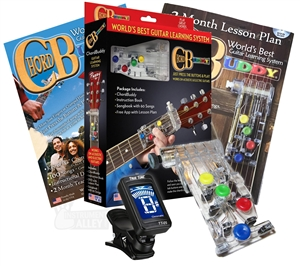 Chord Buddy Guitar Teaching Learning System Practice Aid w/ True Tune Chromatic Tuner Package Bundle ChordBuddy
