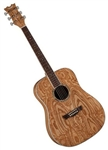 Dean AXS Series Dreadnought Quilt Ash Acoustic Guitar - Gloss Natural AX DQA GN