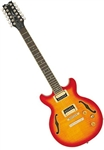 Dean Boca 12-String Flame Top Semi-Hollowbody Electric Guitar - Cherry Burst