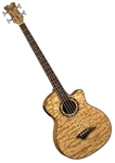Dean Exotica Quilt Ash Acoustic-Electric Bass Guitar with Aphex in Gloss Natural