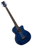 Dean Exotica Quilt Ash Acoustic-Electric Bass Guitar with Aphex in Trans Blue
