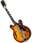 Airline H78 1960's Harmony Tribute Hollowbody Electric Guitar - Bigsby Tailpiece - Honeyburst