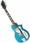 Eastwood Airline Twin Tone Supro Dual Tone Reissue Retro Electric Guitar - White, Red, Blue