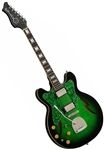 Eastwood Custom Kraft DLX Hollowbody Electric Jazz Guitar 1960's Supro/Valco Reissue - Left Handed Greenburst