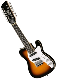 Eastwood Mandocaster 12 Solid Body Electric Mandolin 12-String Sunburst, Left Handed Sunburst, Seafoam Green