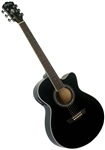 Washburn EA12B 12-String Mini Jumbo Acoustic Electric Guitar - Black