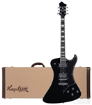 Hagstrom Fantomen Solid Body Electric Guitar FANT-BLK Black with Hard Case