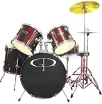 GP Percussion GP100 5 Piece Drum Set w/ Throne Cymbals and Sticks