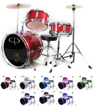 GP Percussion GP-50 Junior Childrens 3 Piece Drum Set w/ Throne and Sticks for kids GP50
