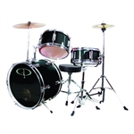 GP Percussion GP50BK Junior Childrens 3 Piece Drum Set w/ Throne Sticks Kids Childs GP50 Black