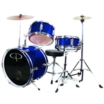 GP Percussion GP50BL Junior Childrens 3 Piece Drum Set w/ Throne Sticks Kids Childs GP50 Blue