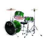 GP Percussion GP50G Junior Childrens 3 Piece Drum Set w/ Throne Sticks Kids Childs GP50 Green