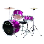 GP Percussion GP50MPK Pink Junior Childrens 3 Piece Drum Set w/ Throne Sticks Kids Childs GP50