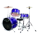 GP Percussion GP50MPR Junior Childrens 3 Piece Drum Set w/ Throne Sticks Kids Childs GP50 Metallic Purple
