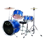 GP Percussion GP50MRB Metallic Royal Blue Junior Childrens 3 Piece Drum Set w/ Throne  Kids Childs GP50