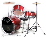 GP Percussion GP50RD Junior Childrens 3 Piece Drum Set w/ Throne Sticks Kids Childs GP50 Red