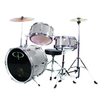 GP Percussion GP50SV Silver Junior Childrens 3 Piece Drum Set w/ Throne  Kids Childs GP50
