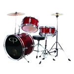 GP Percussion GP50WR Junior Childrens 3 Piece Drum Set w/ Throne Sticks Kids Childs GP50 Wine Red