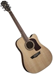Washburn HD10SCE Acoustic-Electric Cutaway Solid Top Guitar with Hard Case - Mahogany