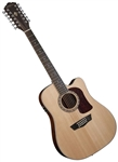 Washburn HD10SCE12 12-String Acoustic Electric Cutaway Solid Spruce Top Mahogany Back with Case