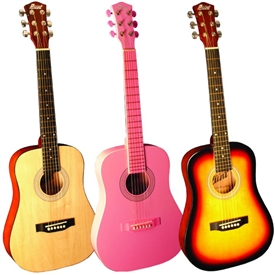 "Indiana Runt 34"" 3/4 Size Steel String Acoustic Guitar Natural, Sunburst and Pink"