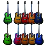 Indiana IDC Cutaway Acoustic/Electric Guitar - Quilt or Flame Top - 5 Colors!