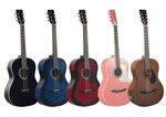 Johnson JG-100 Student Acoustic Guitar - Full Size Black, Blue, Red, Walnut, Pink