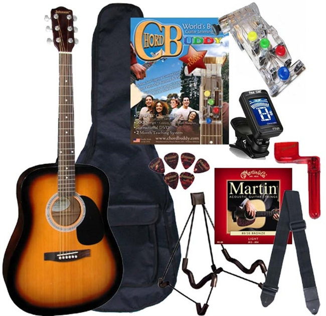 Johnson JG-620 Acoustic Guitar Package w/ Chord Buddy - PLAY GUITAR ...