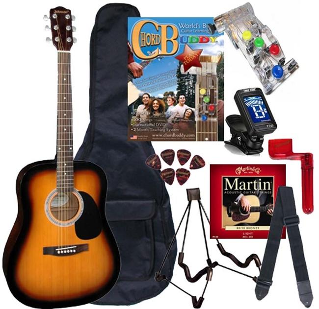 Johnson Jg 620 Acoustic Guitar Package W Chord Buddy Play Guitar